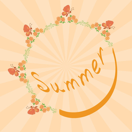beam with joy: summer background with floral frame  vector