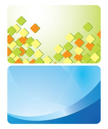 abstractions: green and blue cards with abstractions  vector set Illustration