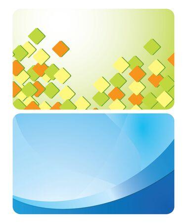 abstrakcje: zielony i niebieski karty z zestawu abstrakcje wektora