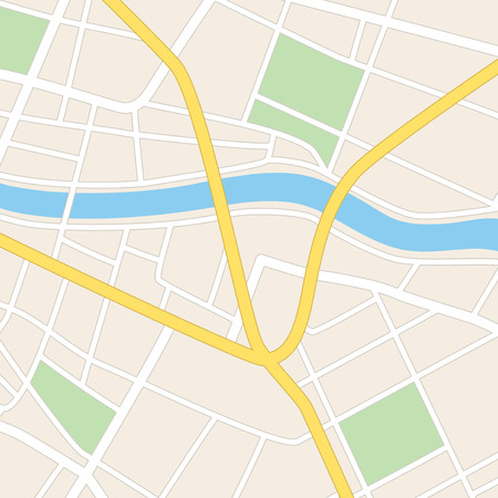 square vector map with river  streets and parks Vettoriali