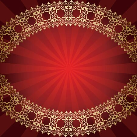bended: red background with bended golden frame  vector Illustration