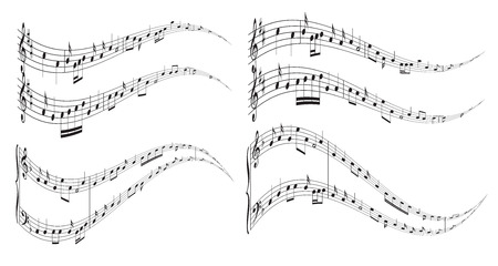music notes vector: wavy elements with music notes  vector