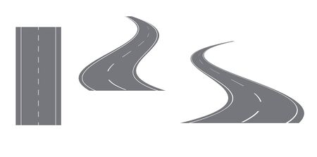 away travel: gray road with white markings  vector set