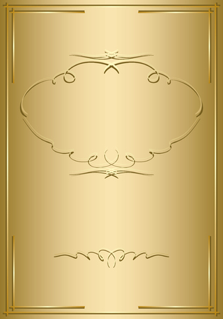 golden frame: gold card with golden decorations  vector Illustration