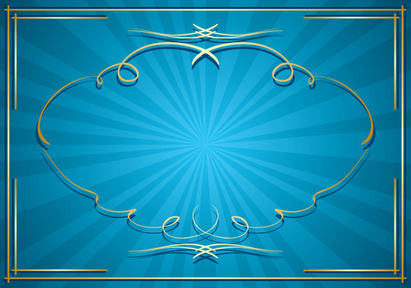bright: blue background with rays and gold frame  vector