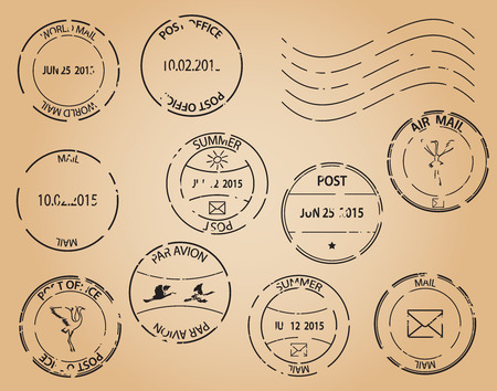 postage stamps: old postage stamps  vector black elements