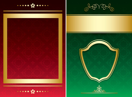 red and green vintage backgrounds with gold decorative ornaments  vector Illustration