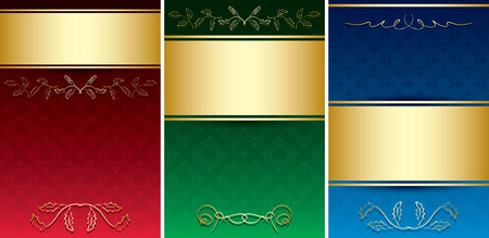 vintage cards with gold decorative ornament - vector