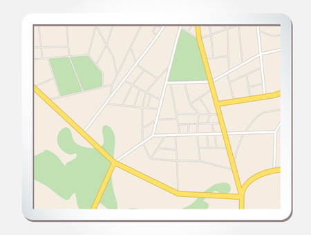 tablet screen with city map - vector