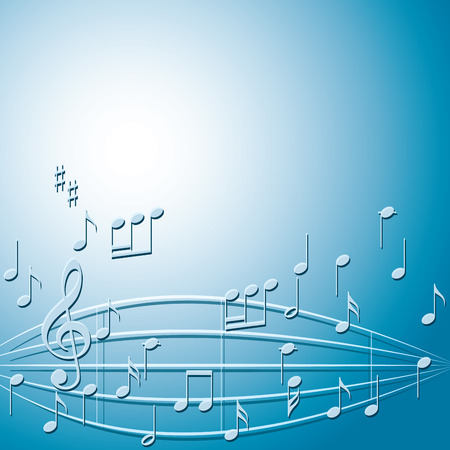 arched: blue background with gradient and music notes - vector