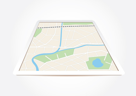 locality: city map on tablet screen - vector Illustration
