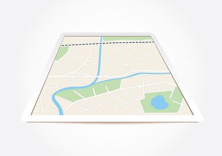 boulevard: city map on tablet screen - vector Illustration