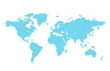 light blue vector map of world - circles