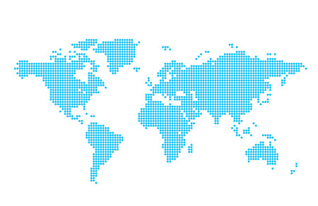light blue vector map of world - circles