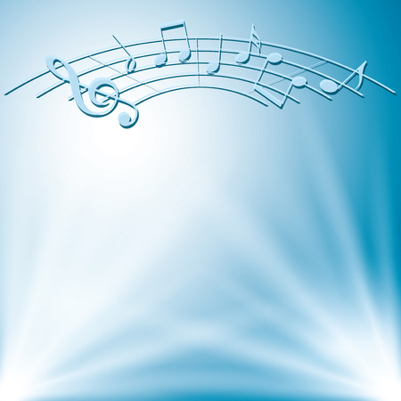 music notes vector: blue background with white lights and music notes - vector