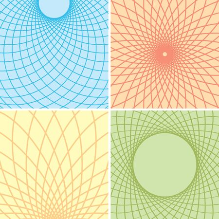 color backgrounds: color backgrounds with curved grids - vector set