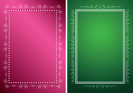 green backgrounds: white frames on green and red backgrounds - vector