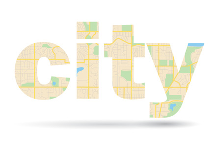 boulevard: word City with streets scheme - vector map
