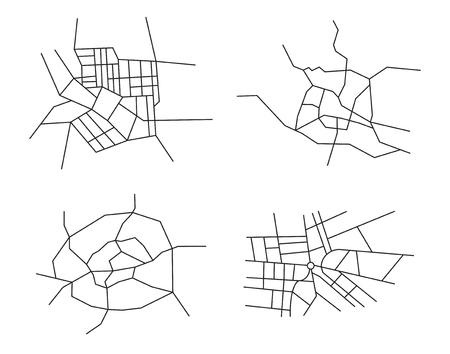 boulevard: schemes of the cities - vector set Illustration