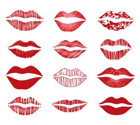 beso labios: conjunto de vector labios rojos