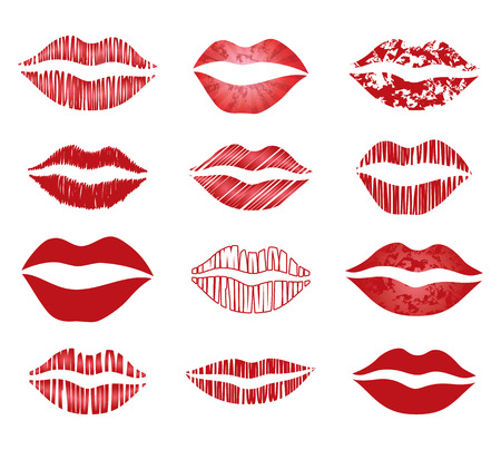 set of vector red lips