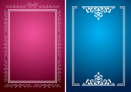 crimson: crimson and blue backgrounds with white frames - vector