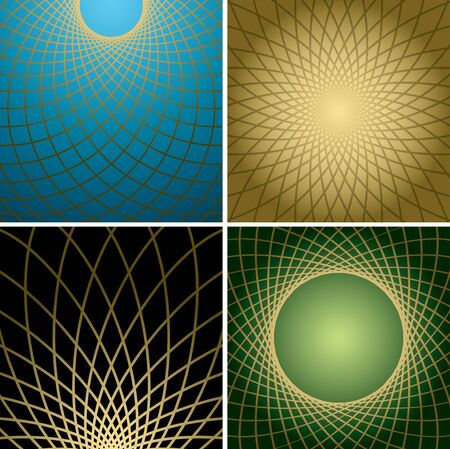 distort: dark backgrounds with golden curved grids - vector set