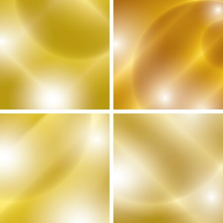 abstractions: golden backgrounds with light abstractions - vector set