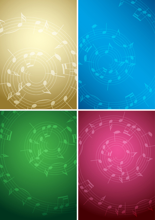 bright music backgrounds with notes - color vector set