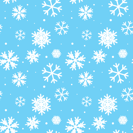 snow white: blue seamless pattern with snowflakes Illustration