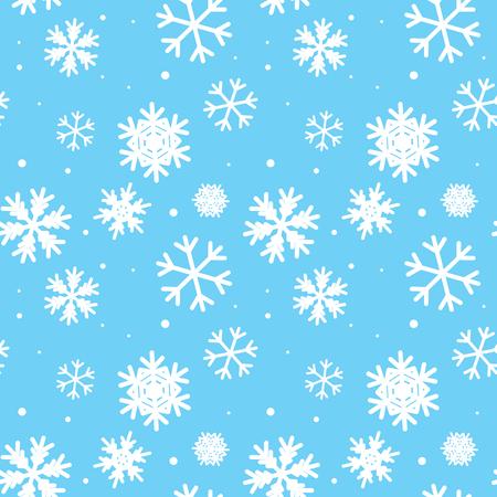 white snow: blue seamless pattern with snowflakes Illustration