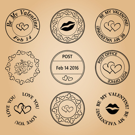 postage: postage stamps for valentine day - black elements