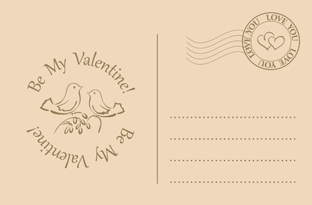postcard design: vector postcard for valentines day - be my valentine