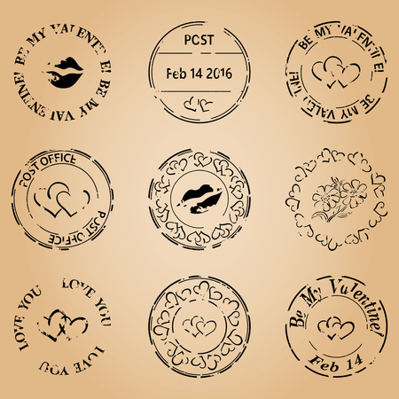 postage stamps: grungy postage stamps for valentine day - vector