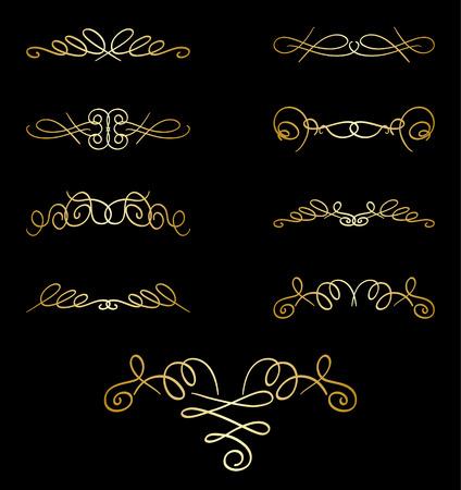 separator: gold curly elements on black - vector set