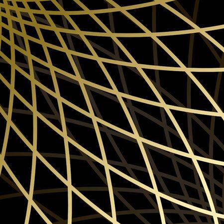 distort: black background with gold grid Illustration
