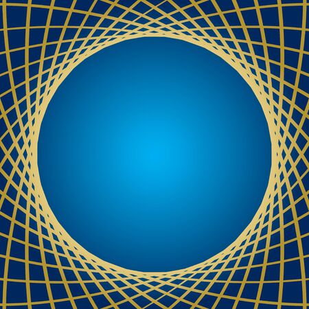 distorted: blue background with distorted gold grid