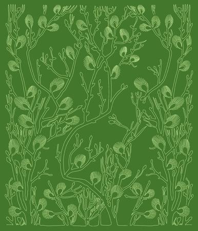 green background: dark green background with green plants - spring Illustration