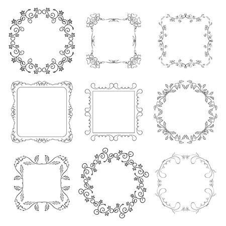 square frame: floral decorative frames - set