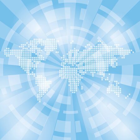 transparence: light blue abstract background with map and rays