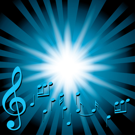 melodic: blue music background with notes and flash Illustration
