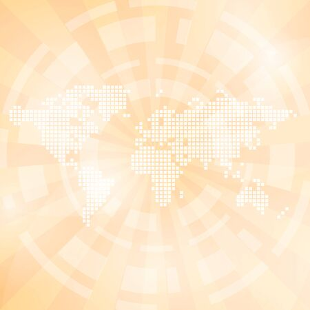 transparence: light orange abstract background with map and rays