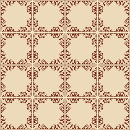 light brown: vintage light brown seamless pattern with squares - vector Illustration