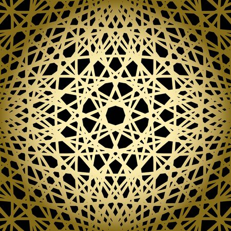 distort: black background with gold knitted grid - vector pattern
