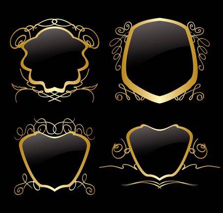 golden frames: set of golden frames on vintage decorations - vector Illustration
