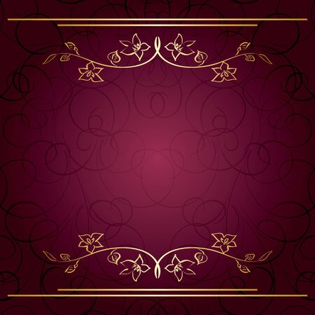 bordo: violet vector background with golden branches