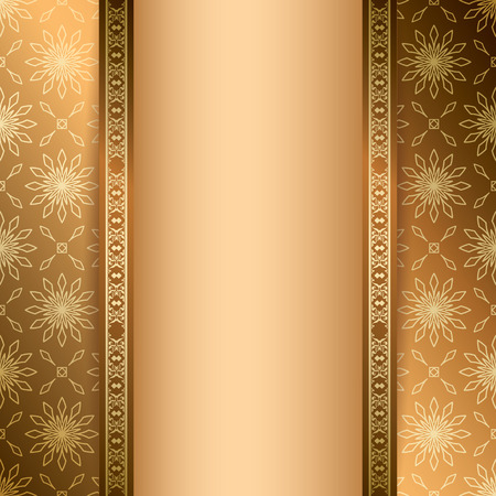 light brown: light and dark brown background with ornament - vector