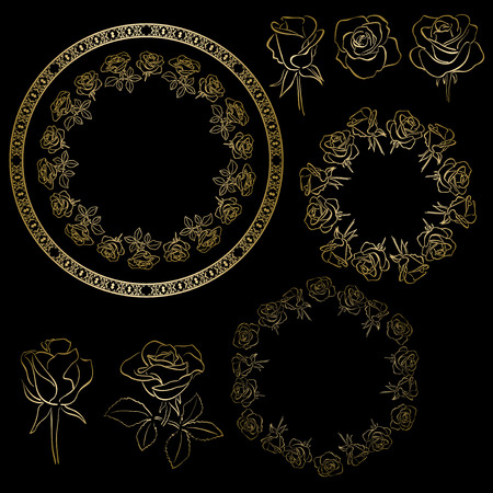 golden roses and frames of flowers - vector floral set Vettoriali