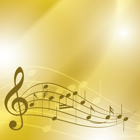 melodic: light yellow music background with notes - vector