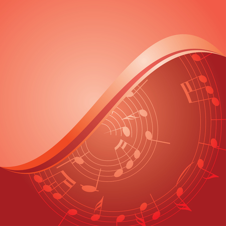 melodic: red vector background - curved music notes